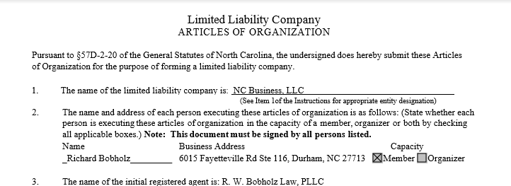 NC LLC Articles of Organization - NC Busines Blog